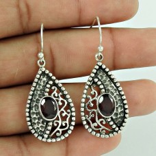 Charming!! Garnet 925 Sterling Silver Earrings Wholesale Price