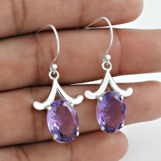 Classy Design !! Amethyst 925 Sterling Silver Earrings Mayorista