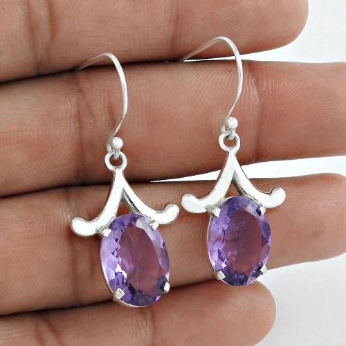 Classy Design !! Amethyst 925 Sterling Silver Earrings Mayorista