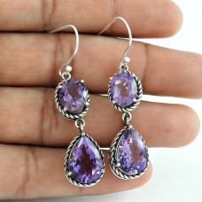 Classy Natural!! 925 Sterling Silver Amethyst Earrings Großhandel