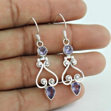 Daisy Moss!! Amethyst 925 Sterling Silver Earrings Supplier India
