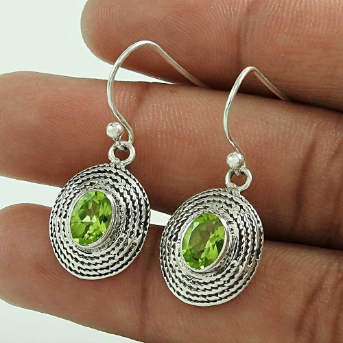 Original Peridot Gemstone Silver Earrings Jewellery Fournisseur