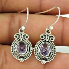 Artisan Work ! Amethyst 925 Sterling Silver Earrings Wholesale Price