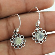 Created ! Rainbow Moonstone 925 Sterling Silver Earrings Manufacturer India