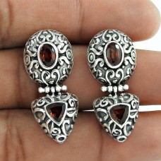 Best Quality !! Garnet 925 Sterling Silver Earrings Wholesaling
