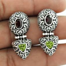 Exclusive !! Peridot, Garnet 925 Sterling Silver Earrings Wholesaler India
