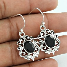 New Fashion !! Black Onyx 925 Sterling Silver Earrings Supplier India