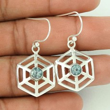Big Grand Love !! Blue Topaz 925 Sterling Silver Earrings Manufacturer India