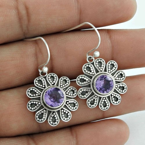 Briliance ! Amethyst 925 Sterling Silver Earrings Wholesaling