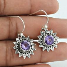 Fabulous ! Amethyst 925 Sterling Silver Earrings Supplier India