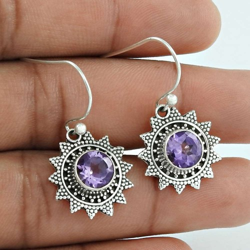 Fabulous ! Amethyst 925 Sterling Silver Earrings Supplier India