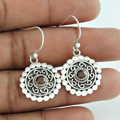 Clinquant ! Garnet 925 Sterling Silver Earrings Wholesale