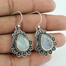 Exclusive!! Rainbow Moonstone 925 Sterling Silver Earrings Exporter