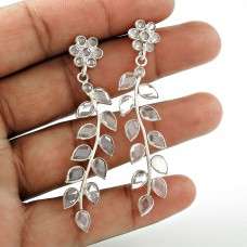 Leaf Design Crystal Gemstone Sterling Silver Stud Earrings Jewellery Wholesale Price