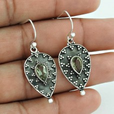 925 Sterling Silver Jewellery High Polish Green Amethyst Gemstone Earrings