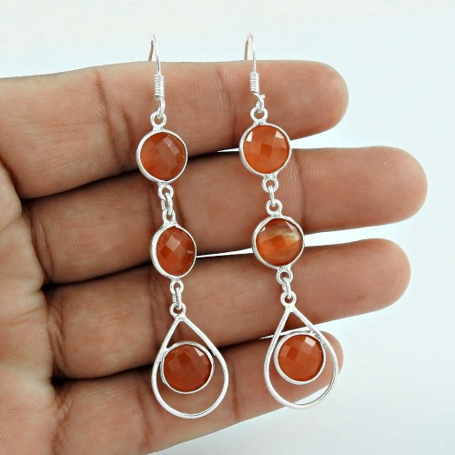 Carnelian Gemstone Silver Earrings Jewellery Wholesale