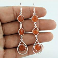 Manufacturer Carnelian Gemstone Silver Earrings Jewellery Wholesaler