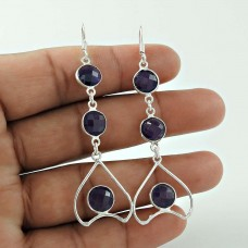 Large Fashion Amethyst Gemstone Silver Earrings Jewellery Exporter