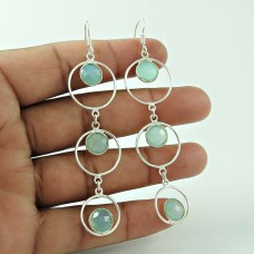 Elegant Chalcedony Gemstone Silver Earrings Jewellery Wholesaling
