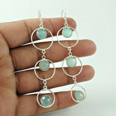 Elegant Chalcedony Gemstone Silver Earrings Jewellery Wholesaling