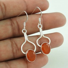 Large Carnelian Gemstone Silver Earrings Jewellery Supplier India
