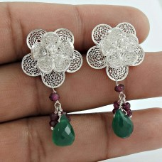 Good Fortune Green Onyx, Ruby Gemstone 925 Sterling Silver Earrings Manufacturer India
