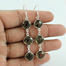 Exhilarant !! Smoky Quartz Gemstone 925 Sterling Silver Earrings Wholesale Price