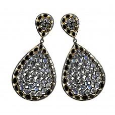 Scallywag Rainbow Moonstone, Black Onyx Gemstone Silver Jewellery Earrings De gros