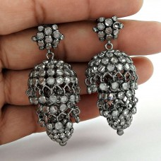 Mystic Princess !! 925 Sterling Silver White CZ Jhumka Grossiste