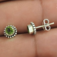 New Faceted!! 925 Sterling Silver Peridot Studs Supplier