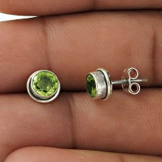 Great Creation!! 925 Sterling Silver Peridot Studs Wholesaling