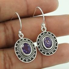 Big Delicate!! 925 Sterling Silver Amethyst Earrings Exporter