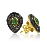 Gorgeous !! 925 Sterling Silver Diamond, Emerald Stud Earrings Wholesale Price
