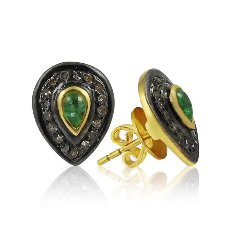 Gorgeous !! 925 Sterling Silver Diamond, Emerald Stud