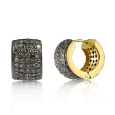 Gold Plated 925 Sterling Silver Diamond Hoop Earrings Al por mayor