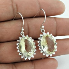 925 Sterling Silver Vintage Jewellery Ethnic Citrine Gemstone Earrings