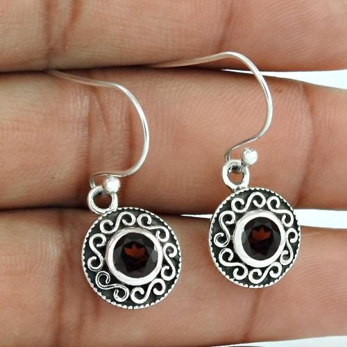Sizzling Garnet Gemstone 925 Sterling Silver Earrings De gros