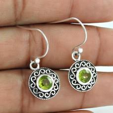 Natural Peridot Gemstone 925 Sterling Silver Earrings Fabricant