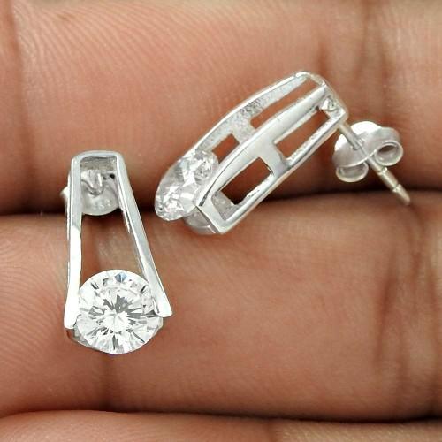 Semi Precious White CZ Gemstone Sterling Silver Stud Earrings Jewellery Exporter