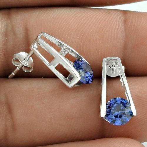 Pretty Swiss Blue CZ Gemstone Sterling Silver Stud Earrings Jewellery Exporter India