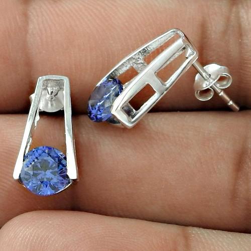 Unique Design Swiss Blue CZ Gemstone Sterling Silver Stud Earrings Jewellery Wholesaling