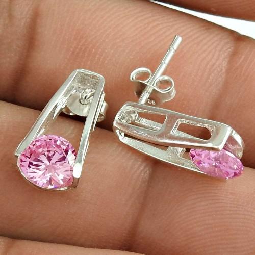 Pink CZ Gemstone Sterling Silver Stud Earrings Jewellery De gros