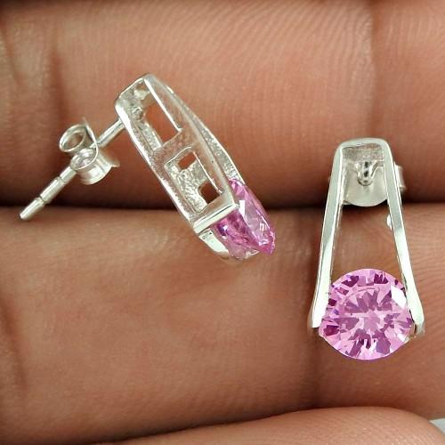 Large Fashion Pink CZ Gemstone Sterling Silver Stud Earrings Jewellery Grossiste