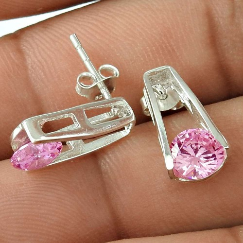 Made in India Pink CZ Gemstone Sterling Silver Stud Earrings Jewellery Fabricant