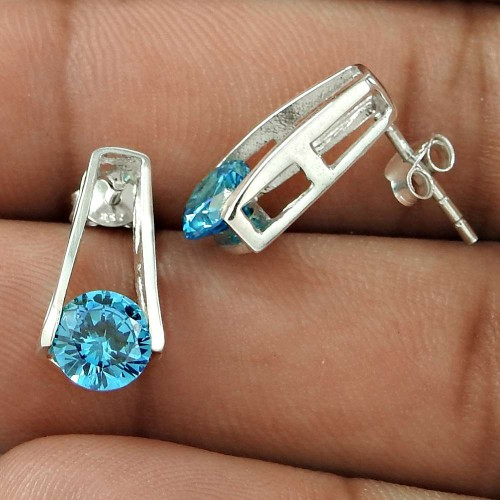 Large Blue CZ Gemstone Sterling Silver Stud Earrings Jewellery Wholesale Price