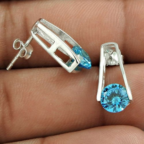 Exclusive Style Blue CZ Gemstone Sterling Silver Stud Earrings Jewellery Mayorista