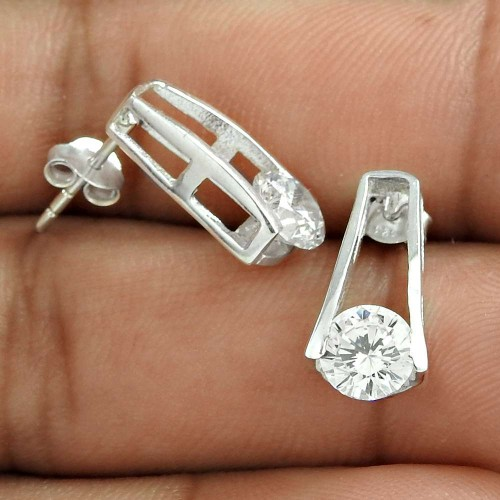 Good Fortune White CZ Gemstone Sterling Silver Stud Earrings Jewellery Wholesale Price