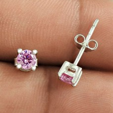 High Quality Pink CZ Gemstone Sterling Silver Stud Earrings Jewellery Supplier India