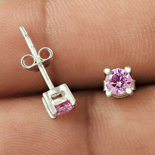 Modern Design Pink CZ Gemstone Sterling Silver Stud Earrings Jewellery Wholesale Price