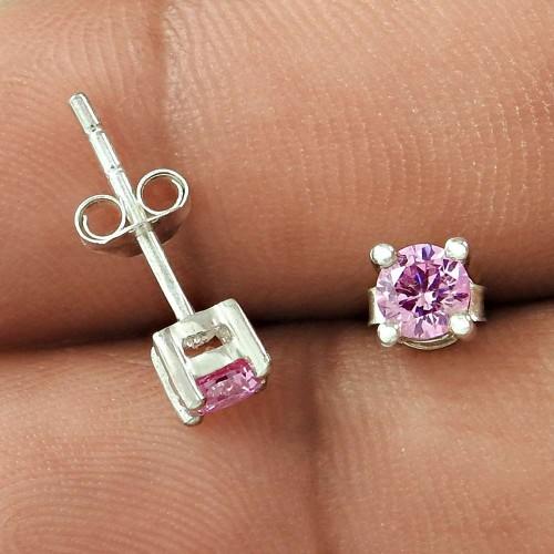 Modern Design Pink CZ Gemstone Sterling Silver Stud Earrings Jewellery Wholesale Price